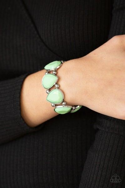 Pre-Order Flamboyant Tease - Green Pastel Teardrop Beaded Stretch Bracelet