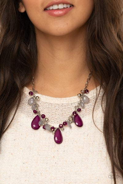 Seaside Solstice - Silver with Purple Iridescent Beads Necklace