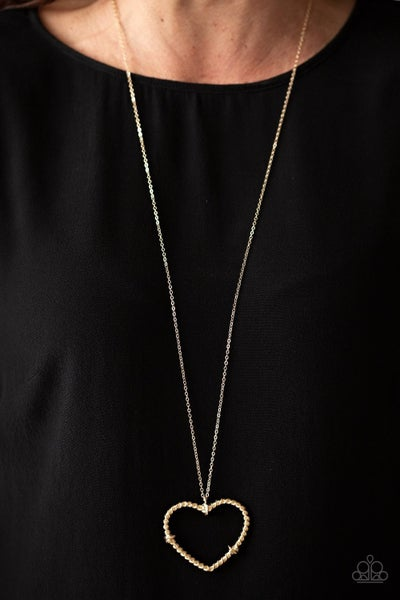 Straight From The Heart - Gold Necklace with Large Heart Pendant