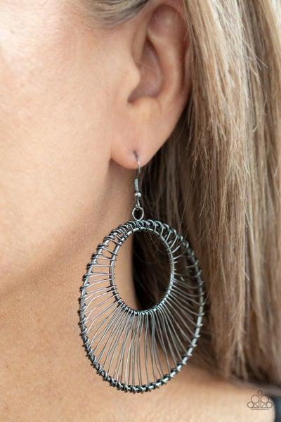 Artisan Applique - Gunmetal Wire Wrapped Hoop Earrings
