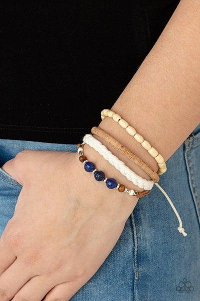 Natural-Born Navigator - Blue Beads with Cork, Thread & Wood slip knot/pull tight Bracelet