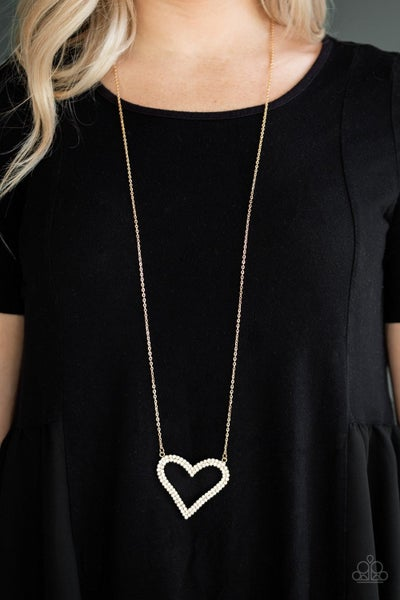 Pull Some Heart-Strings Gold with White Rhinestones Heart Necklace with Earrings