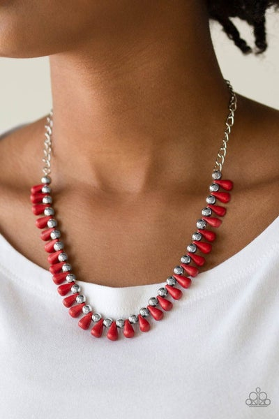 Extinct Species - Silver with Red crackle stones Necklace & Earrings