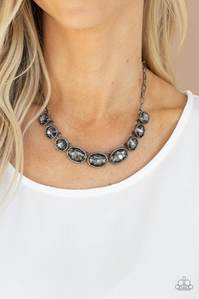 Gorgeously Glacial - Gunmetal with smoky Rhinestones Necklace & Earrings