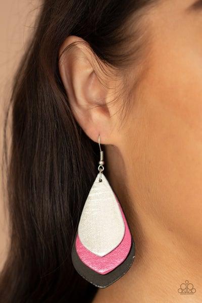 GLISTEN Up! - Multi - Silver, Pink & Black Metallic Leather Earrings
