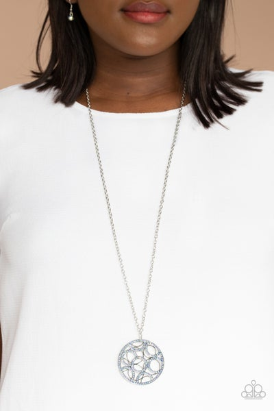 Thanks a MEDALLION - Silver with Iridescent rhinestone encrusted pendant Necklace with Earrings
