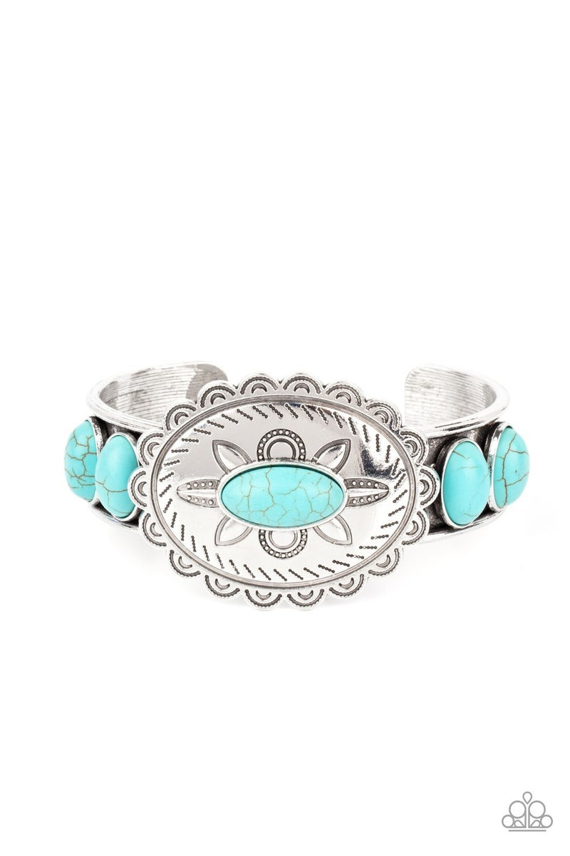 Canyon Heirloom - Turquoise stones on a Silver Floral Pattern Cuff Bracelet