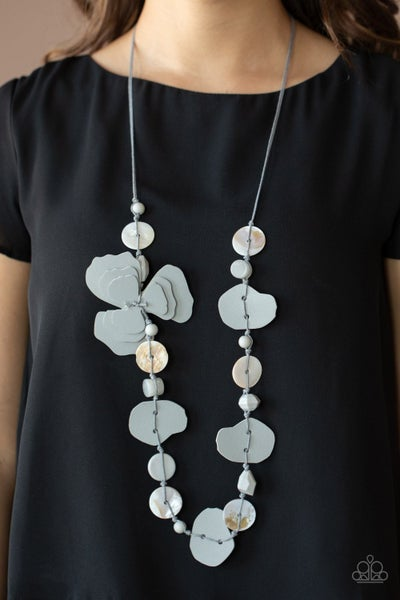 On Island Time - Silver shell, acrylic & leather Necklace with matching Earrings