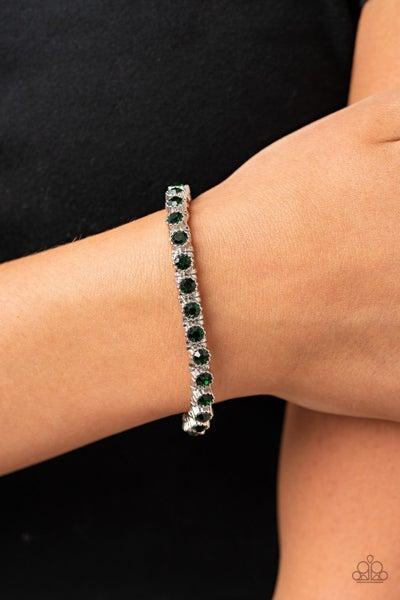 Starry Social - Green Rhinestone Stretch Bracelet