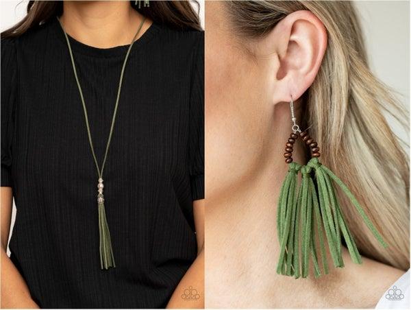 Hold My Tassel & Easy To PerSUEDE - Green Suede Tassel Necklace & Earrings Set