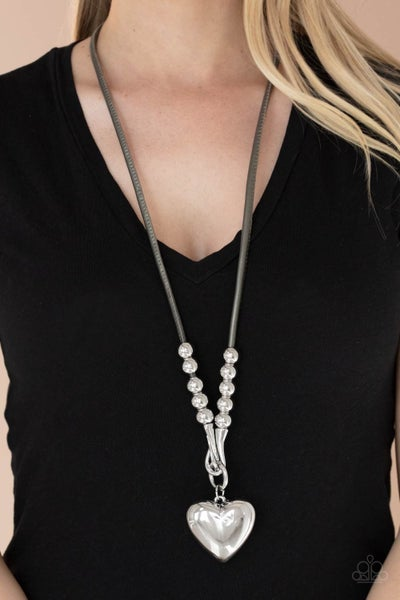 Forbidden Love - Silver Large Heart Pendant on a Gray leather cord Necklace & Earrings