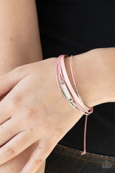 Interstellar Iridescence - Pink Cordage with Opalescent Stone Pull-Tight Bracelet
