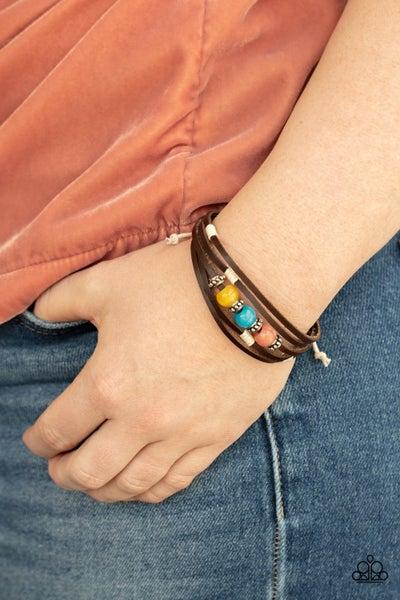 Homespun Radiance - Multicolor Moonstone Beads on a Leather slip knot/pull tight Bracelet