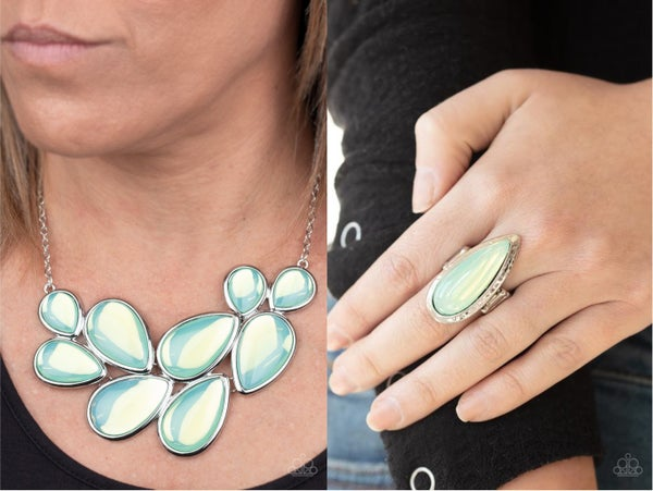 Iridescently Irresistible and Opal Oasis - Green Moonstone Necklace with Ring Set