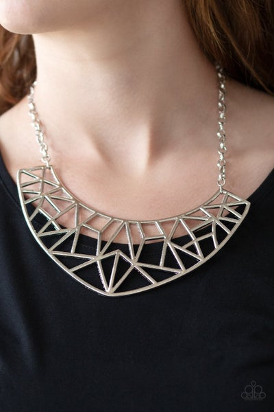 Strike While Haute - Silver Crescent Frame Necklace - December 2018 Life of the Party Exclusive