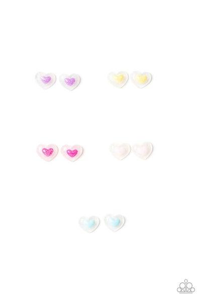 Colorful Heart Post Back Kid's Earrings