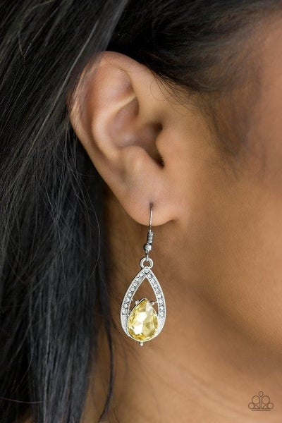 Gatsby Grandeur - Silver with Yellow Teardrop Rhinestones Earrings