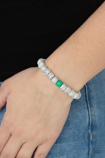 ZEN Second Rule - Green Mint Bead with White Lava Bead Stretch Bracelet