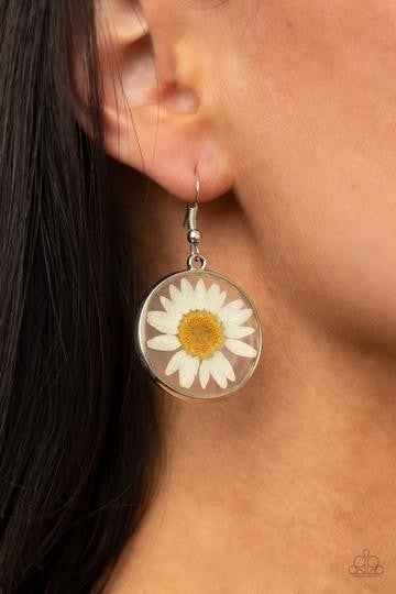 Pre-Sale Forever Florals - Silver with White Daisy encased in Acrylic Earrings