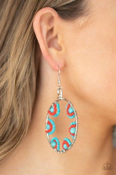 Off The Rim - Turquoise & multi color Seed Bead Hoop Earrings