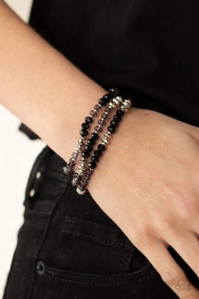 Pre-Sale Stellar Strut - Three strands of sparkly Silver & Black crystals Stretch Bracelets