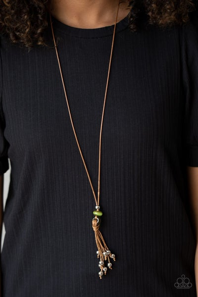 Ocean Child - Brown Cordage with Tassels infused with Green Beads Necklace