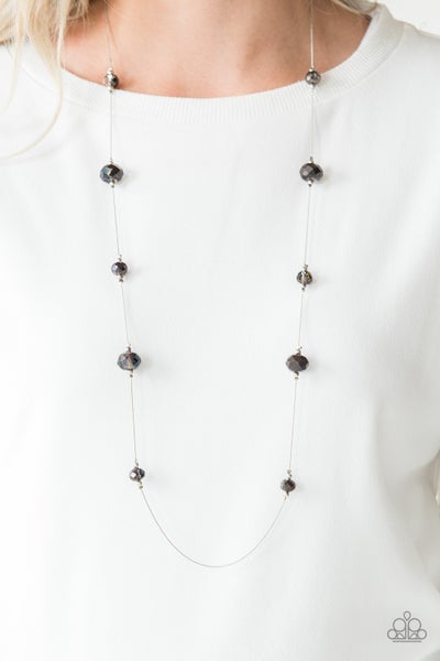 Champagne On The Rocks - Silver with Multi Iridescent Oil Spill Crystals Necklace with Earrings