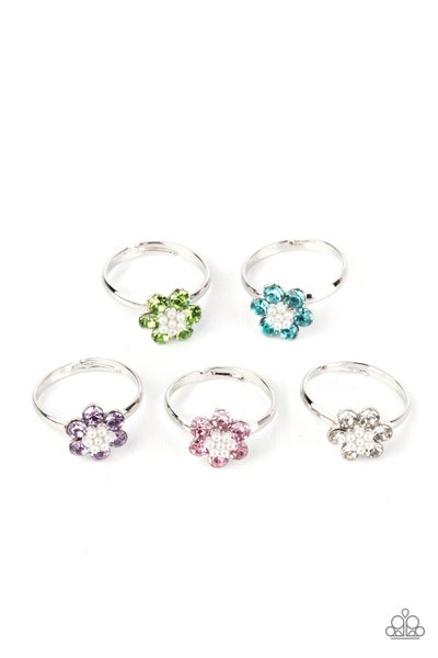 Assorted colors & floral shapes, glittery Rhinestone adjustable Rings for Kids or the Kid at Heart