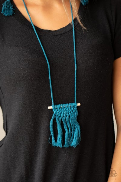 Between You and MACRAME - Blue Macramé Necklace & Earrings
