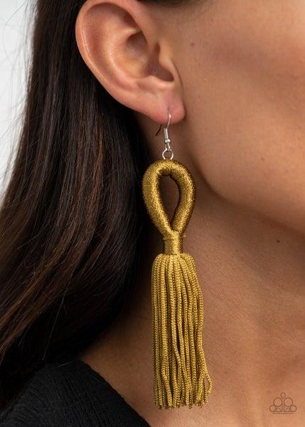 Tassels and Tiaras - Olive Green Cording Tassel Earrings