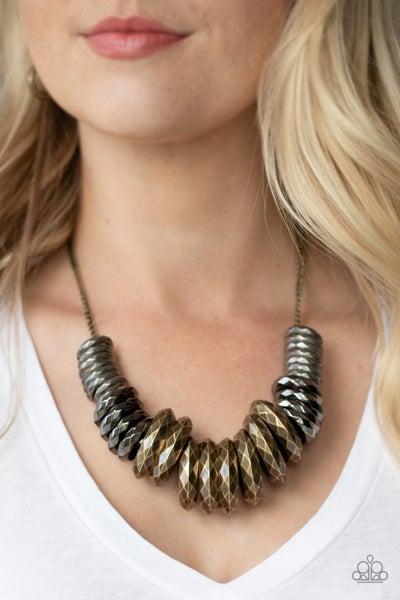 Haute Hardware - Multi Silver, Gunmetal & Brass statement Necklace & Earrings