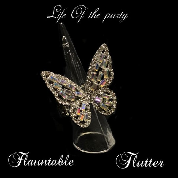 Flauntable Flutter - Multi Iridescent Butterfly Ring March 2021 Life of the Party