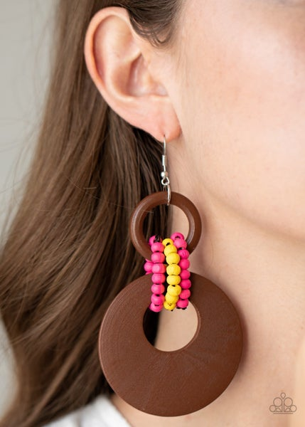 Beach Day Drama - Brown Wood Hoops with Yellow & Pink Wood Bead Accents Earrings
