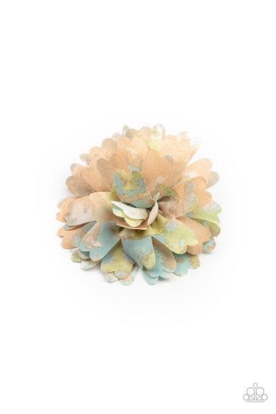Tie Dyed Eden - Orange, Blue Green & Grey Tie-Dyed Hair Bow