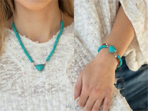 Country Sweetheart and Charmingly Country - Silver, Leather & Turquoise Necklace, Earrings, and Bracelet Set