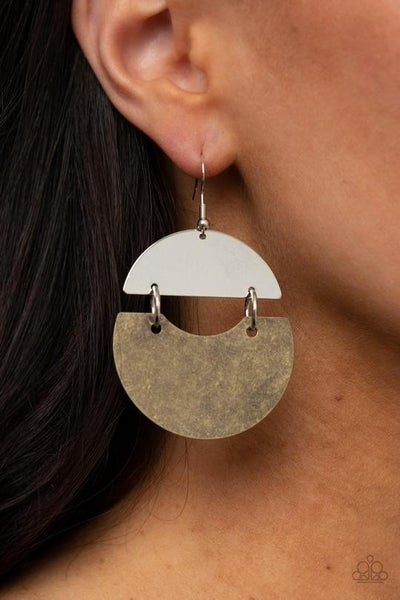 Watching The Sunrise - Brass & Silver Earrings