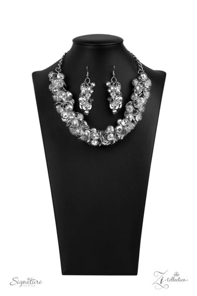 The Haydee - Silver with Metallic Dippped Crystal Beads Necklace - 2020 Zi Collection