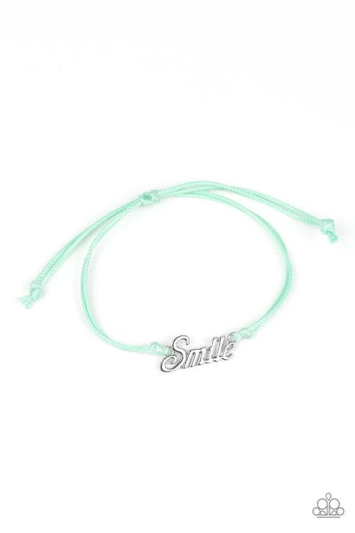 """Colorful Cordage with the word """"Smile"""" in silver letters on a Pull-Tight Bracelet"""
