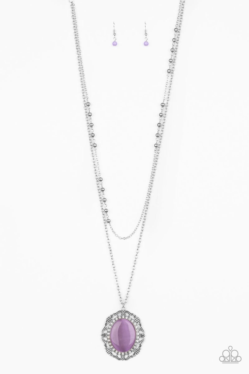 Endlessly Enchanted - Silver Layers with a Large Oval Purple Moonstone with White Rhinestones Necklace