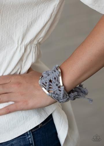 Macrame Mode - Silver Macrame on Silver frame Cuff Bracelet