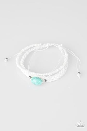 Weekend Warrior - White Cordage with a Turquoise Bead - Pull Tight Bracelet