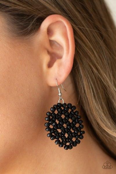 Summer Escapade - Black wooden beads in a Floral pattern Earrings