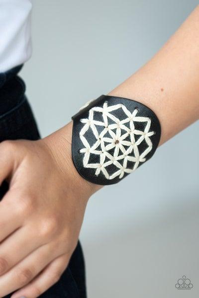 Pre-Sale - A Cross-Stitch In Time - Black leather with white macramé cordage Snap Bracelet