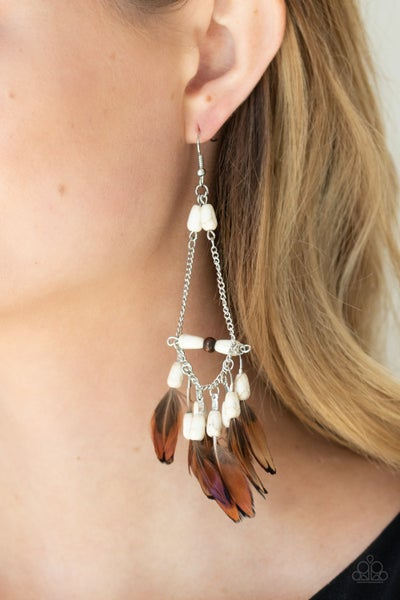Haute Hawk - Silver with White Wood Beads & Brown Feather Fringe Earrings