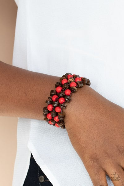 Tahiti Tourist - Brown wood with Red Wood Beads Stretch Bracelet