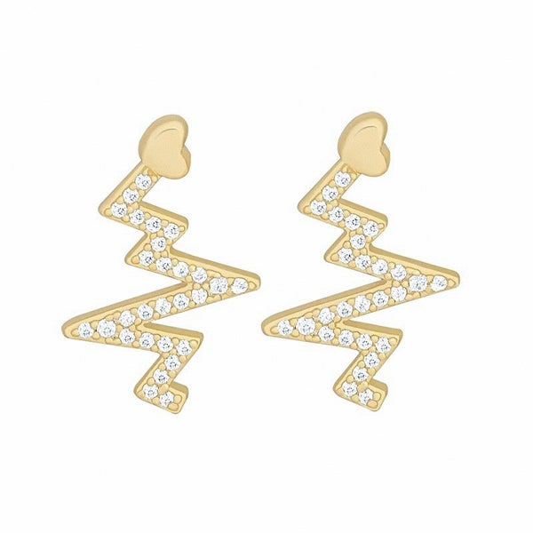 HEART BEAT GOLD DIPPED STUDS
