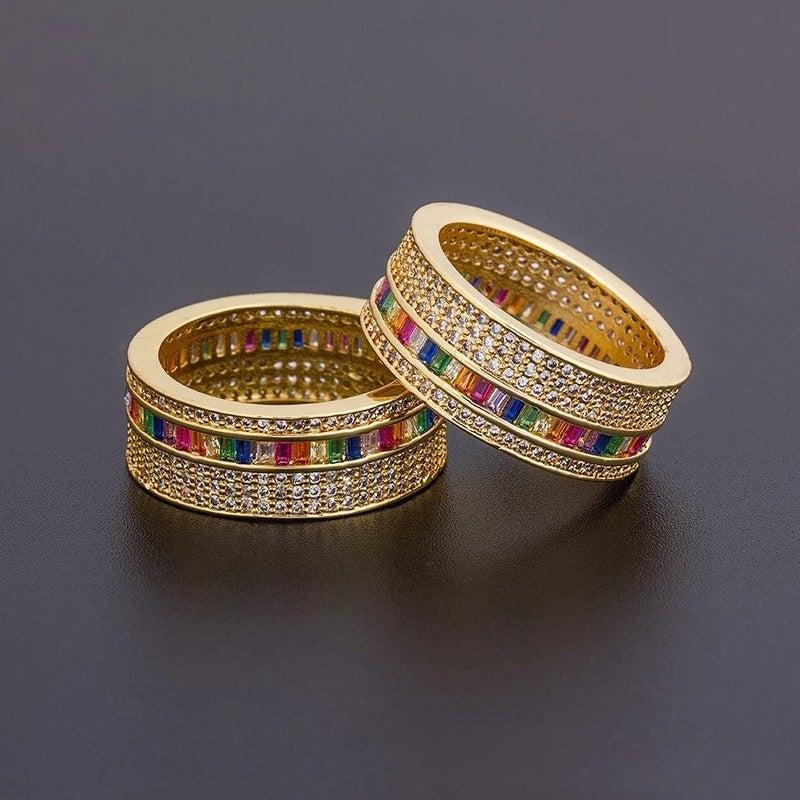 Boho Rainbow CUBIC Zirconia RING