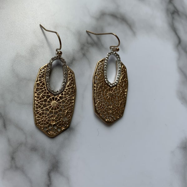 Gold & Bling Filigree Earrings