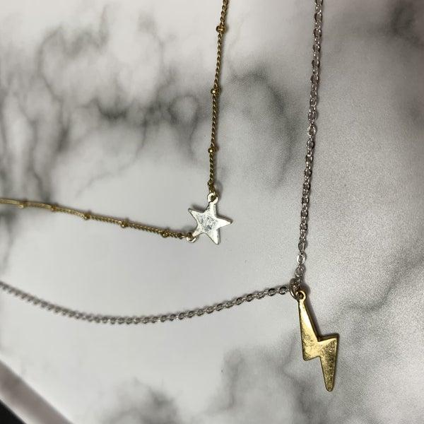 Lightening & Star layered Necklace