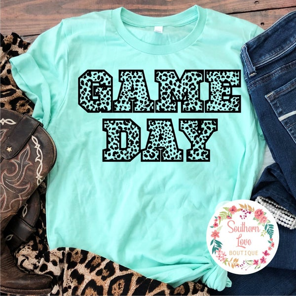"""""""Game Day"""" Leopard Graphic Tee Preorder"""